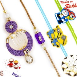 Cut and Polished Purple Beads Family Rakhi Set with 2 Kids Rakhis