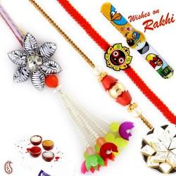 Cut Work Floral Design Multicolor Beads Family Rakhi Set