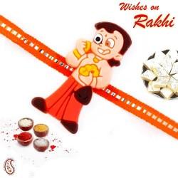 Cute Chhota Bheem with Laddu Motif Kids Rakhi
