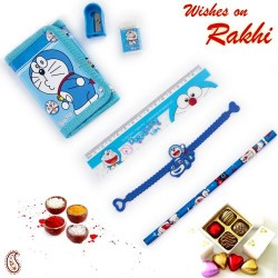 Cute Doremon Pouch Box and Rakhi Kids Hamper