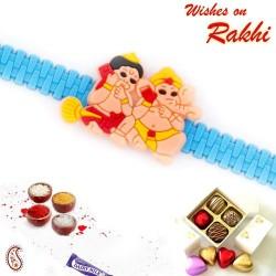 Cute Hanuman and Ganesh Talking on Mobile Kids Rakhi