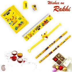 Cute Pikachu Pouch Box and Rakhi Kids Hamper