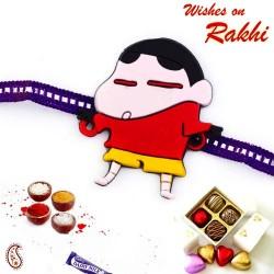 Cute Shinchan Purple Band Kids Rakhi
