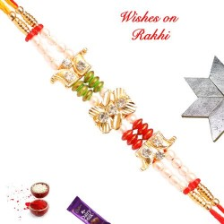 Dazzling AD Pearls and Beads Stud Rakhi