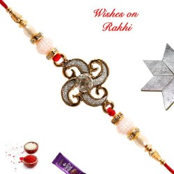 Dazzling American Diamonds Rakhi with Pearls and Beads