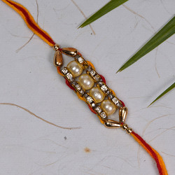 Dazzling Pearls AD and Beads Rakhi