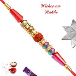 Dazzling Rudraksh with Multicolor Beads Rakhi