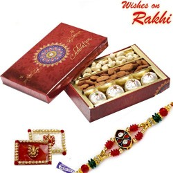 Decorated Box of Kaju Laddoos , Dryfruits and Rakhi