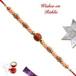 Delicate Rudraksh Rakhi with AD and Beads