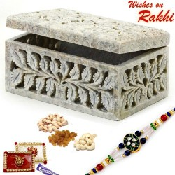 Delicately Carved Stone Box with Dryfruits and Rakhi