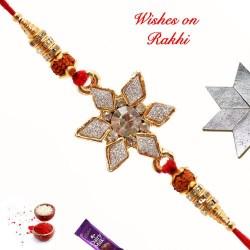 Delightful AD Rudraksh and Beads Rakhi
