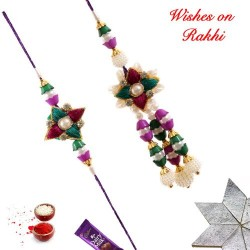 Delightful Pearls AD and Beads Bhaiya Bhabhi Rakhi Set