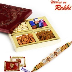 Dryfruit Box with Homemade Chocolates and Bhaiya Rakhi
