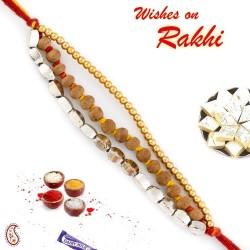 Elegant and Smart Golden Beads and Sandalwood Rakhi