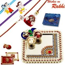 Elegant Handcrafted Peacock design Rakhi Thali with Family Rakhi Set