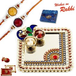 Elegant Handcrafted Peacock Design Rakhi Thali with Set of 2 Rakhis