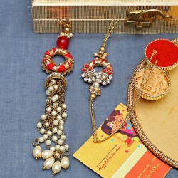 Elegant Pearl Dangler Kundan Work Bhaiya Bhabhi Rakhi Set in Red and Gold