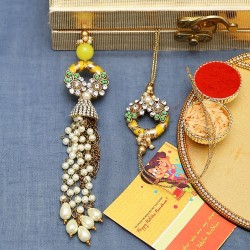 Elegant Pearl Dangler Kundan Work Bhaiya Bhabhi Rakhi Set in Yellow and Green