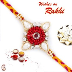 Enticing Zardosi Rakhi with Swastik Motif