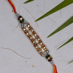 Exclusive Pearls Work Rakhi with AD and Beads