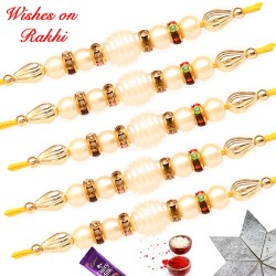 Exclusive Set of 5 Pearls and AD Rakhi