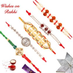 Exclusive Set of 5 Pearls Rudraksh and AD Rakhis