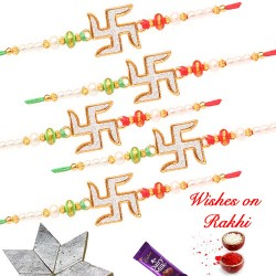 Exclusive Swastik Studded Set of 5 Rakhis