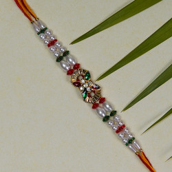 Fancy AD Pearls and Beads Rakhi