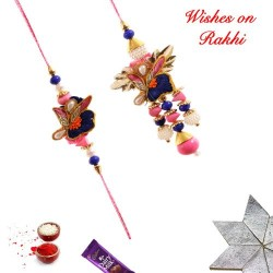 Fancy Motifs Pearls and Colored Beads Bhaiya Bhabhi Rakhi Set