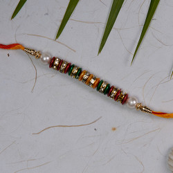 Fancy Rakhi with Multicolor Beads AD and Pearls