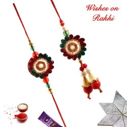Fancy Stones Pearls and Beads Work Bhaiya Bhabhi Rakhi Set