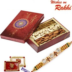 Festive Box with Almonds, Cashew, Raisins and Rakhi