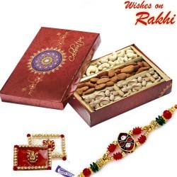 Festive Box with Cashew, Almonds, Pistas and Rakhi
