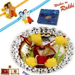 Floral Accessorized Silver Colour Rakhi Thali Hamper with Set of 2 Kids Rakhis