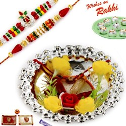 Floral Accessorized Silver Colour Rakhi Thali Hamper with Set of 2 Premium Rakhis