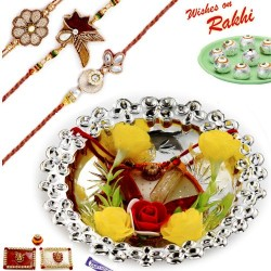 Floral Accessorized Silver Colour Rakhi Thali Hamper with Set of 3 Zardosi Rakhis