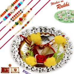 Floral Accessorized Silver Colour Rakhi Thali Hamper with Set of 5 Premium Rakhis