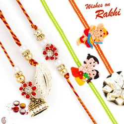 Floral Design Bhaiya Bhabhi Rakhi Set with 2 Kids Rakhi