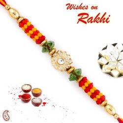 Floral Motif and Beads Studded Mauli Thread Rakhi