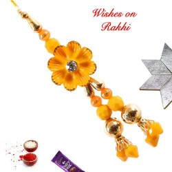 Floral Motif with Colored Beads Lumba Rakhi