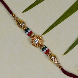 Floral Motif with Multicolor Beads Rakhi