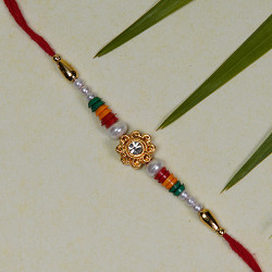 Floral Motif with Pearls and Beads Rakhi