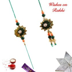 Floral Motifs Beads and Pearls Bhaiya Bhabhi Rakhi Set