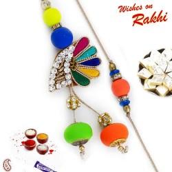 Fluoroscent Beads Zardosi Bhaiya Bhabhi Rakhi Set