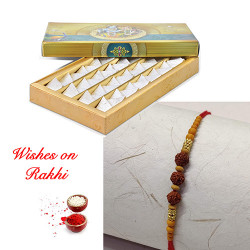 Fresh Kaju Katli with Rudraksh Rakhi