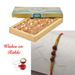 Fresh Mohanthal with Handcrafted Rudraksh Rakhi