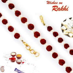 Fresh Pearl and Rudraksh Studded Bracelet Rakhi