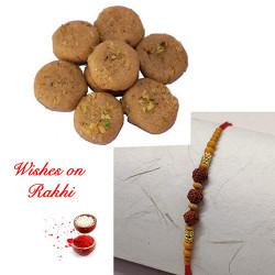Fresh Thabdi Penda with Premium Rudraksh Rakhi