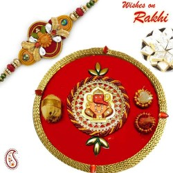 Ganesha and Gat Motif Pooja Thali with Bhaiya Rakhi