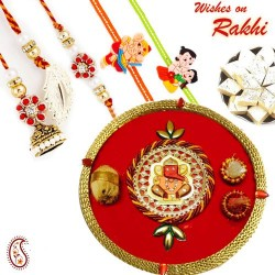 Ganesha Motif Pooja Thali with Family Rakhi Set